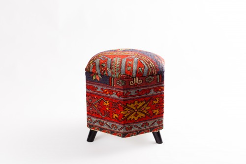 Ottoman Handmade Puff Red With Navy