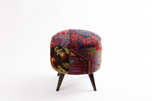 Ottoman Handmade Puff Red With Mixed Colors