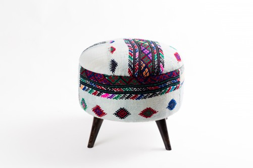 Ottoman Handmade Puff White With Mixed Colors