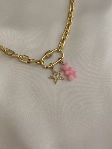 BEAR Chain Necklace- Pink