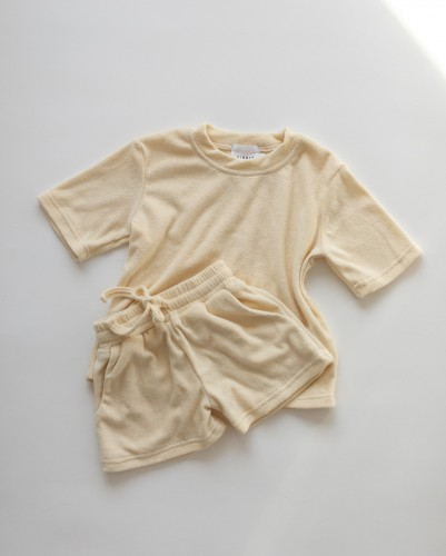 TERRY TOWELLING TEE AND SHORTS - Citrus