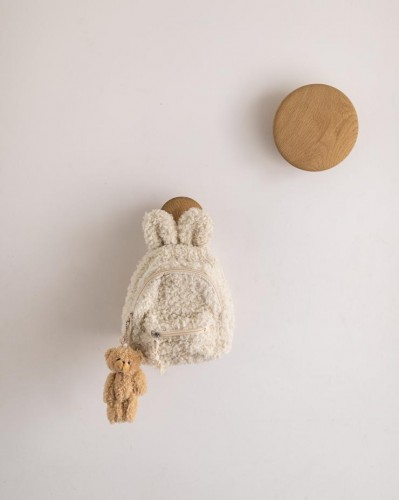 FUZZY BUNNY BACKPACK - Oat with Brown Bear