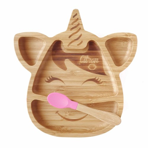 BABY UNICORN BAMBOO SUCTION PLATE WITH SPOON - Pink