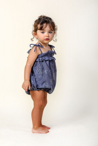 BLUE ABEDUL EMBROIDERED ROMPER